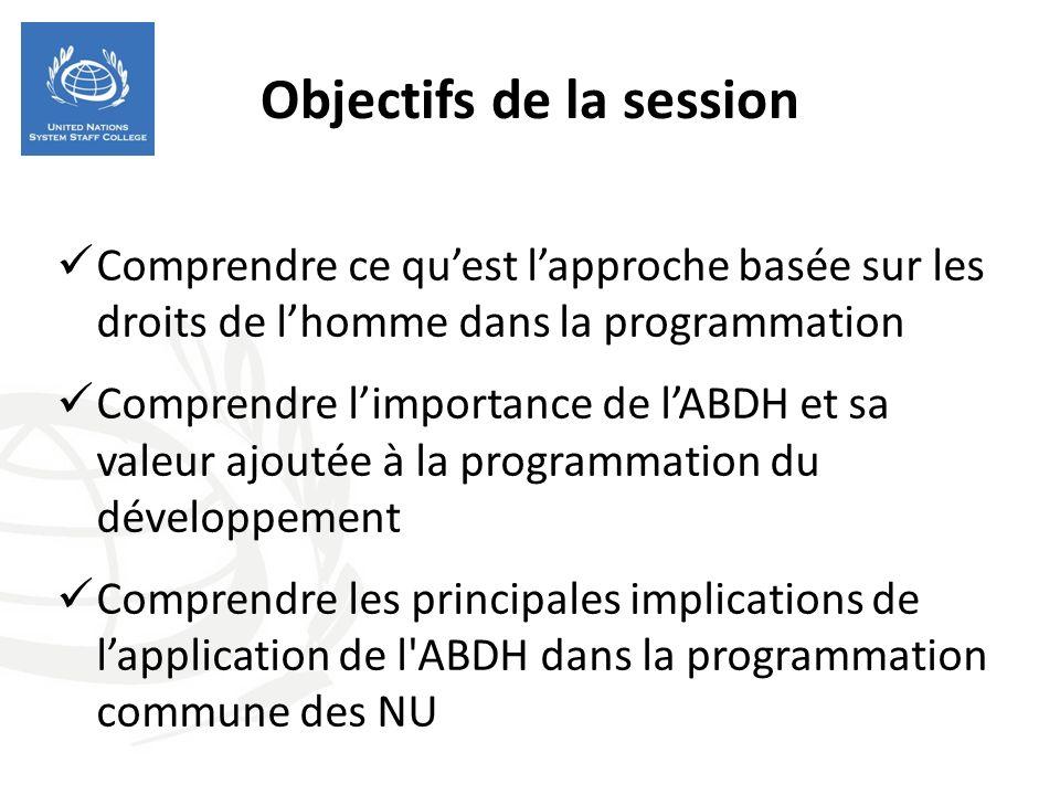 Objectifs de la session Comprendre ce quest lapproche basée sur les droits de lhomme dans la programmation Comprendre limportance de lABDH et sa valeur ajoutée à la programmation du développement Comprendre les principales implications de lapplication de l ABDH dans la programmation commune des NU