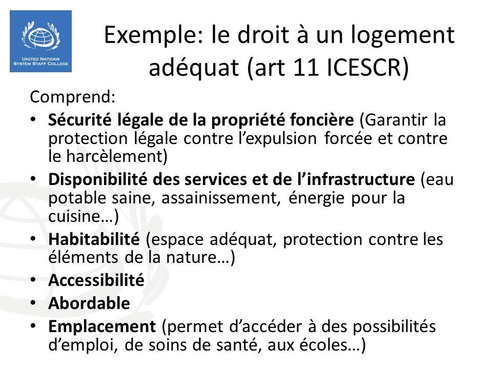 Exemple: le droit à un logement adéquat (art 11 ICESCR) Comprend: Sécurité légale de la propriété foncière (Garantir la protection légale contre lexpu
