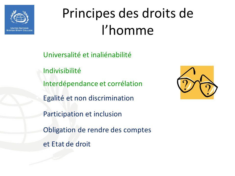 Principes des droits de lhomme Universalité et inaliénabilité Indivisibilité Interdépendance et corrélation Egalité et non discrimination Participation et inclusion Obligation de rendre des comptes et Etat de droit