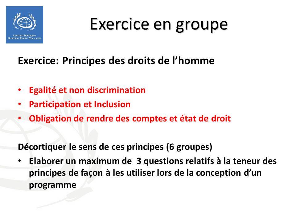 Exercice en groupe Exercice: Principes des droits de lhomme Egalité et non discrimination Participation et Inclusion Obligation de rendre des comptes