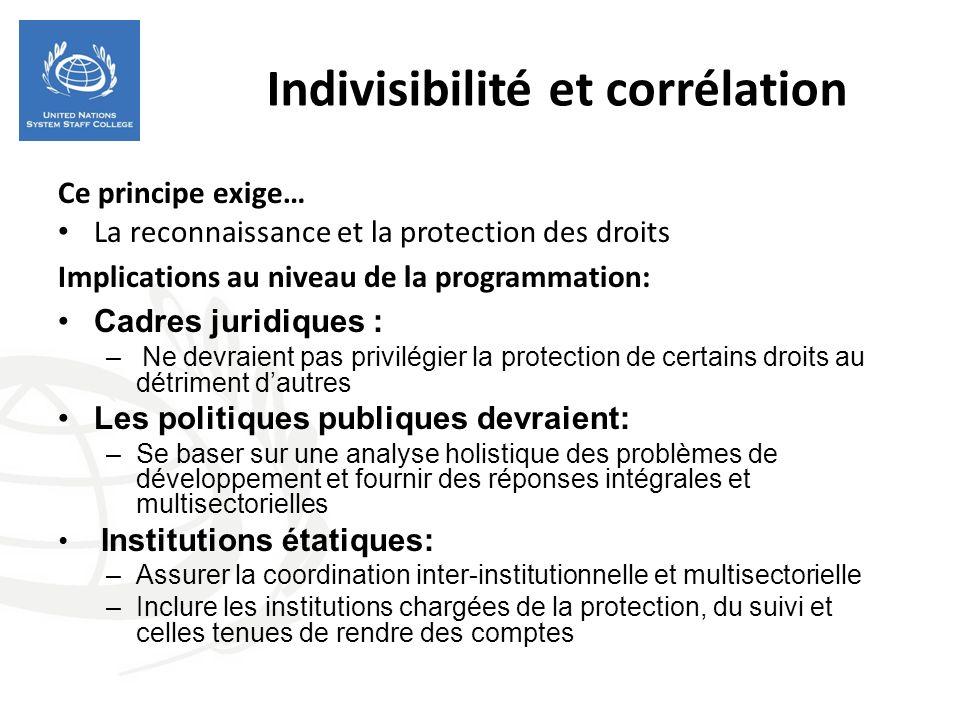 Indivisibilité et corrélation Ce principe exige… La reconnaissance et la protection des droits Implications au niveau de la programmation: Cadres juri