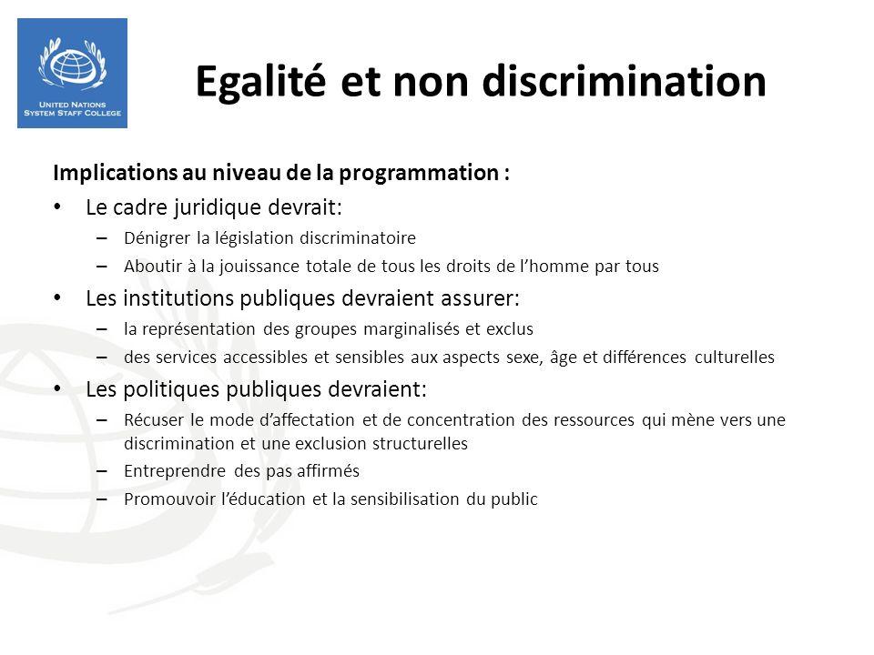 Egalité et non discrimination Implications au niveau de la programmation : Le cadre juridique devrait: – Dénigrer la législation discriminatoire – Abo