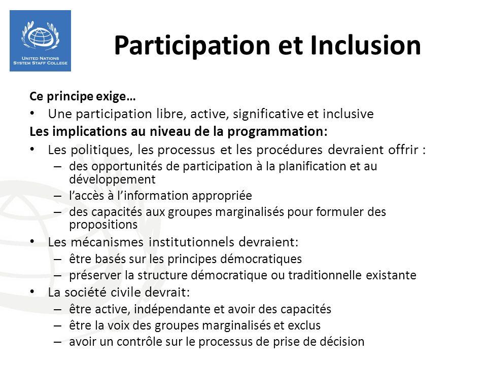 Participation et Inclusion Ce principe exige… Une participation libre, active, significative et inclusive Les implications au niveau de la programmati