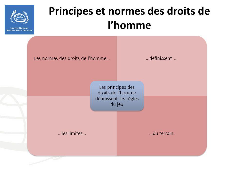 Principes et normes des droits de lhomme Les normes des droits de lhomme…...définissent … …les limites……du terrain.