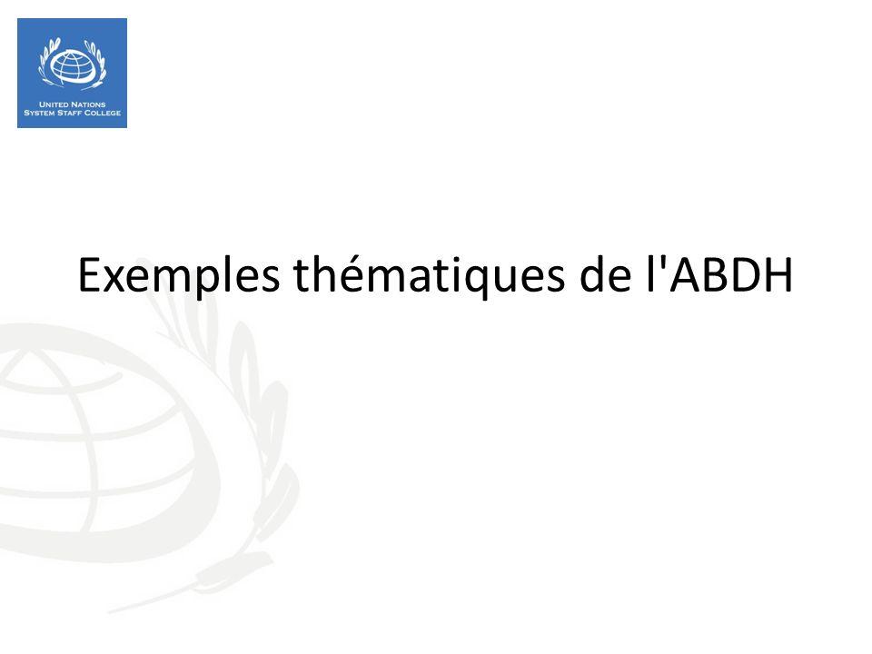 Exemples thématiques de l'ABDH