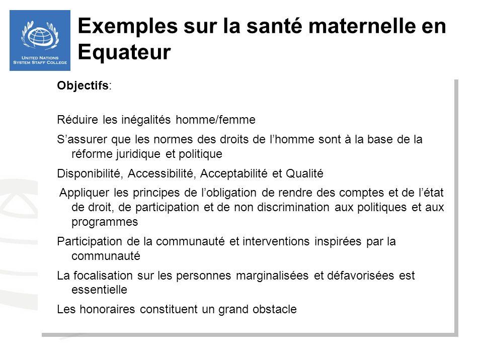 Objectifs: Réduire les inégalités homme/femme Sassurer que les normes des droits de lhomme sont à la base de la réforme juridique et politique Disponi