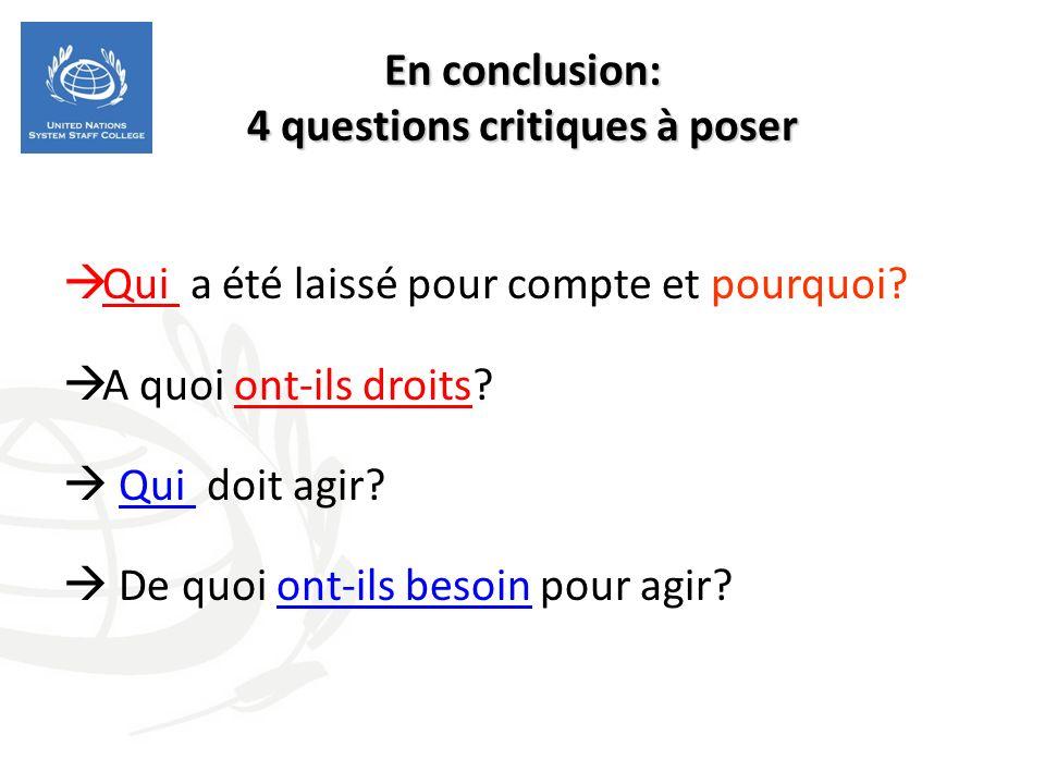 En conclusion: 4 questions critiques à poser Qui a été laissé pour compte et pourquoi? A quoi ont-ils droits? Qui doit agir? De quoi ont-ils besoin po