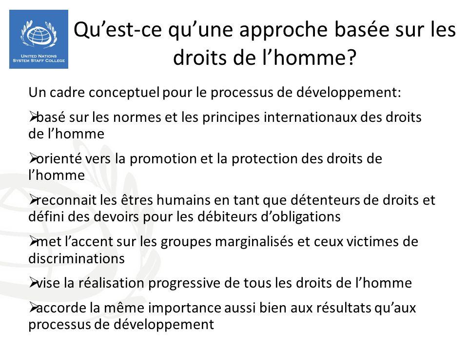 Quest-ce quune approche basée sur les droits de lhomme? Un cadre conceptuel pour le processus de développement: basé sur les normes et les principes i