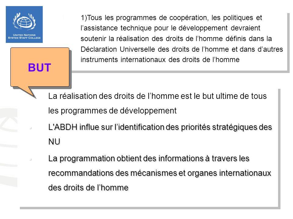 1.1)Tous les programmes de coopération, les politiques et lassistance technique pour le développement devraient soutenir la réalisation des droits de