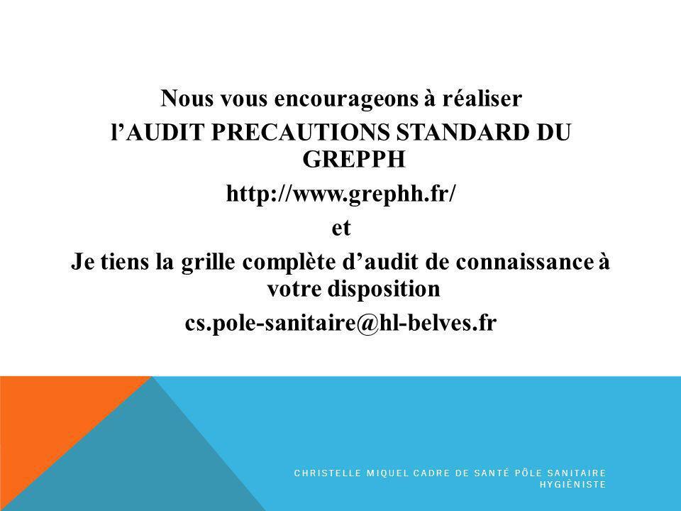 Nous vous encourageons à réaliser lAUDIT PRECAUTIONS STANDARD DU GREPPH http://www.grephh.fr/ et Je tiens la grille complète daudit de connaissance à votre disposition cs.pole-sanitaire@hl-belves.fr CHRISTELLE MIQUEL CADRE DE SANTÉ PÔLE SANITAIRE HYGIÈNISTE