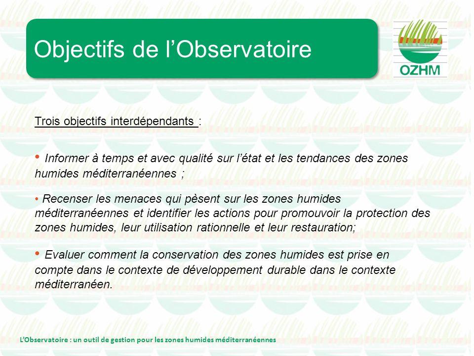 Trois objectifs interdépendants : Informer à temps et avec qualité sur létat et les tendances des zones humides méditerranéennes ; Objectifs de lObser
