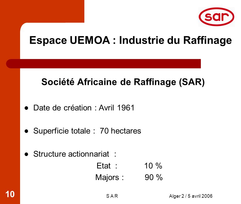 S A RAlger 2 / 5 avril 2006 10 Société Africaine de Raffinage (SAR) Date de création : Avril 1961 Superficie totale : 70 hectares Structure actionnari