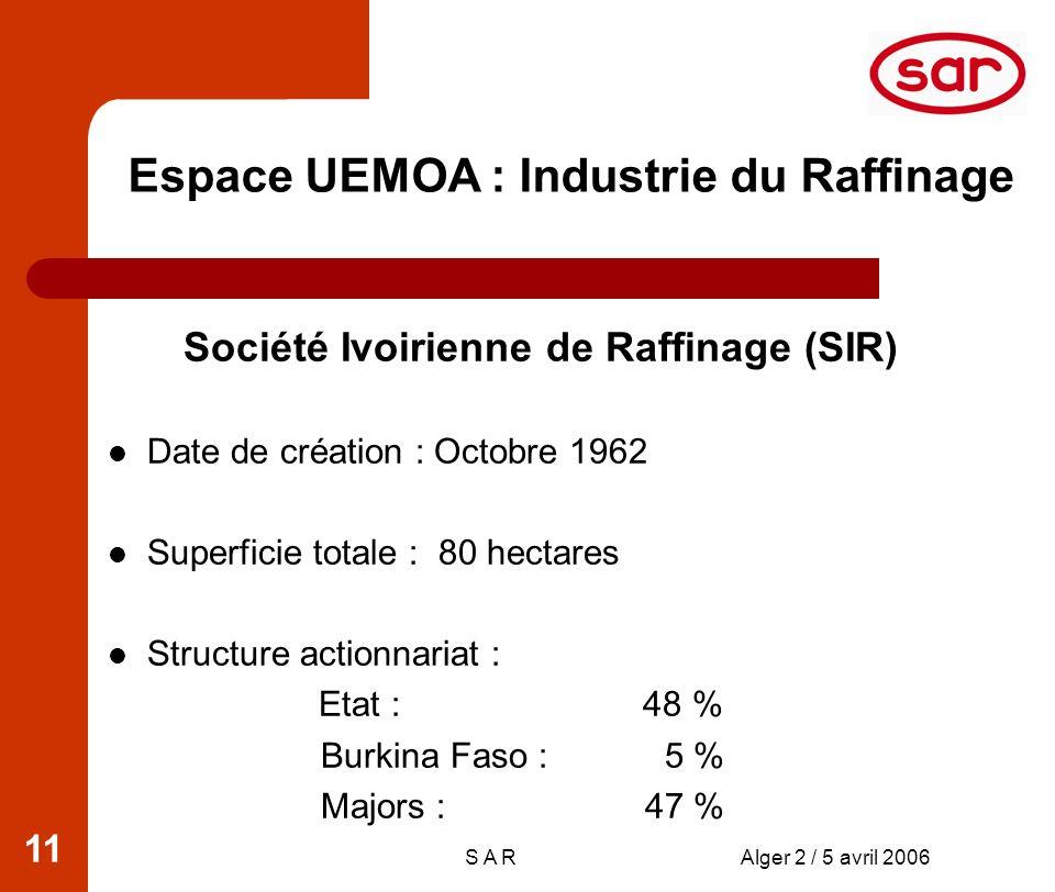 S A RAlger 2 / 5 avril 2006 11 Espace UEMOA : Industrie du Raffinage Société Ivoirienne de Raffinage (SIR) Date de création : Octobre 1962 Superficie totale : 80 hectares Structure actionnariat : Etat : 48 % Burkina Faso : 5 % Majors : 47 %