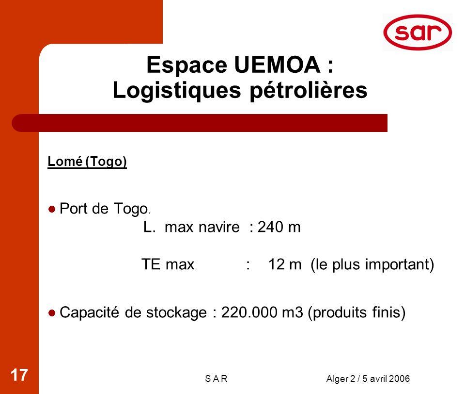 S A RAlger 2 / 5 avril 2006 17 Espace UEMOA : Logistiques pétrolières Lomé (Togo) Port de Togo.