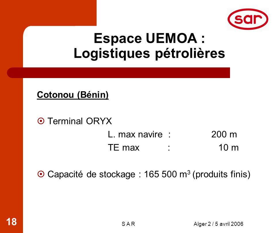 S A RAlger 2 / 5 avril 2006 18 Espace UEMOA : Logistiques pétrolières Cotonou (Bénin) Terminal ORYX L.