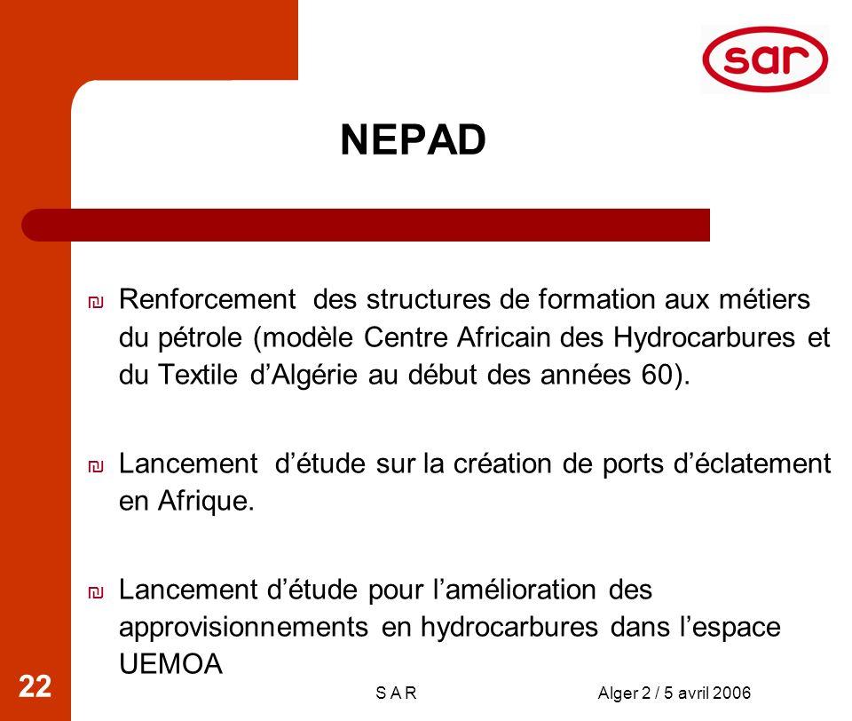 S A RAlger 2 / 5 avril 2006 22 Renforcement des structures de formation aux métiers du pétrole (modèle Centre Africain des Hydrocarbures et du Textile dAlgérie au début des années 60).