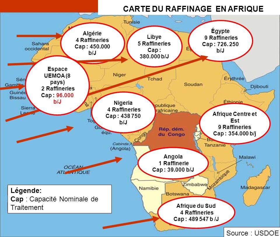 S A RAlger 2 / 5 avril 2006 5 Légende: Cap : Capacité Nominale de Traitement Algérie 4 Raffineries Cap : 450.000 b/J Libye 5 Raffineries Cap : 380.000 b/J Égypte 9 Raffineries Cap : 726.
