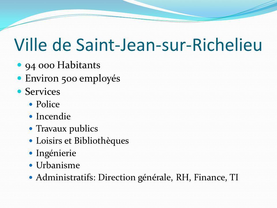 Ville de Saint-Jean-sur-Richelieu 94 000 Habitants Environ 500 employés Services Police Incendie Travaux publics Loisirs et Bibliothèques Ingénierie U