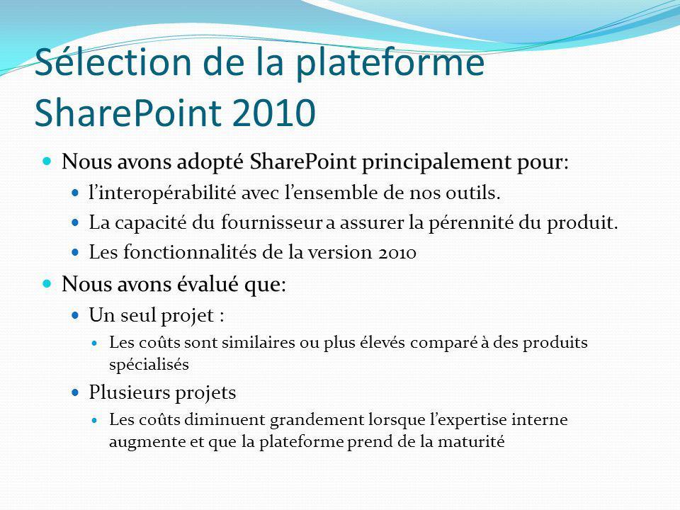 Sélection de la plateforme SharePoint 2010 Nous avons adopté SharePoint principalement pour: linteropérabilité avec lensemble de nos outils. La capaci