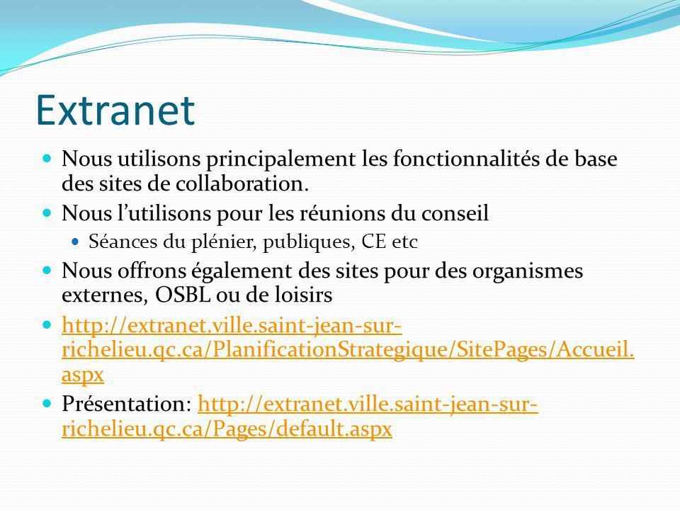 Extranet Nous utilisons principalement les fonctionnalités de base des sites de collaboration. Nous lutilisons pour les réunions du conseil Séances du
