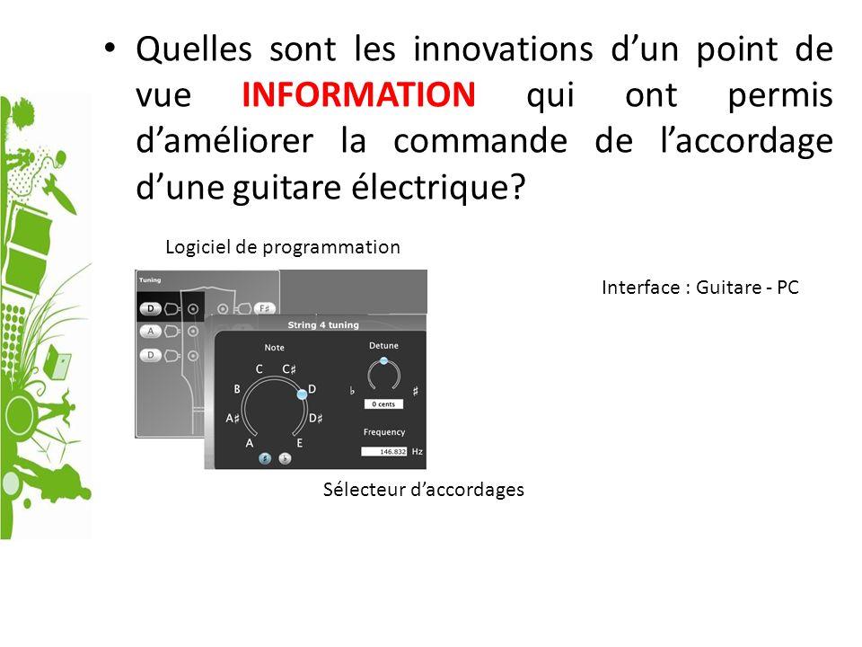 Quelles sont les innovations dun point de vue INFORMATION qui ont permis daméliorer la commande de laccordage dune guitare électrique? Interface : Gui