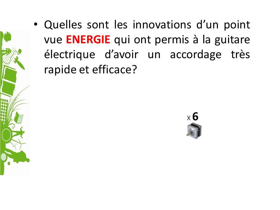 Quelles sont les innovations dun point vue ENERGIE qui ont permis à la guitare électrique davoir un accordage très rapide et efficace? X 6