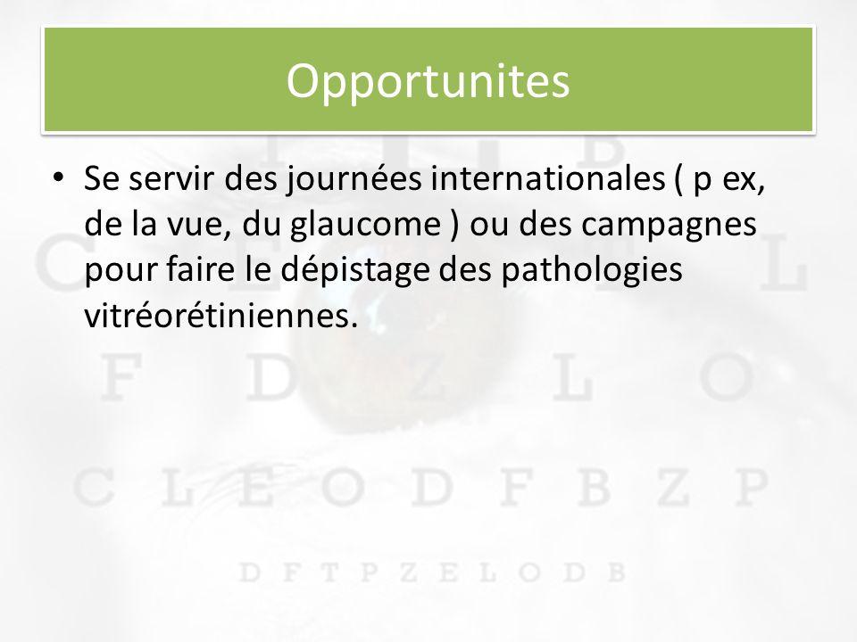 Opportunites Se servir des journées internationales ( p ex, de la vue, du glaucome ) ou des campagnes pour faire le dépistage des pathologies vitréorétiniennes.