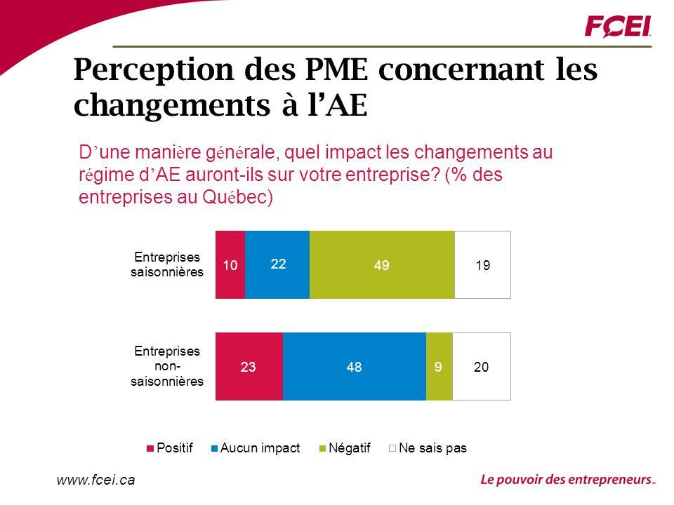 www.fcei.ca Perception des PME concernant les changements à lAE D une mani è re g é n é rale, quel impact les changements au r é gime d AE auront-ils sur votre entreprise.