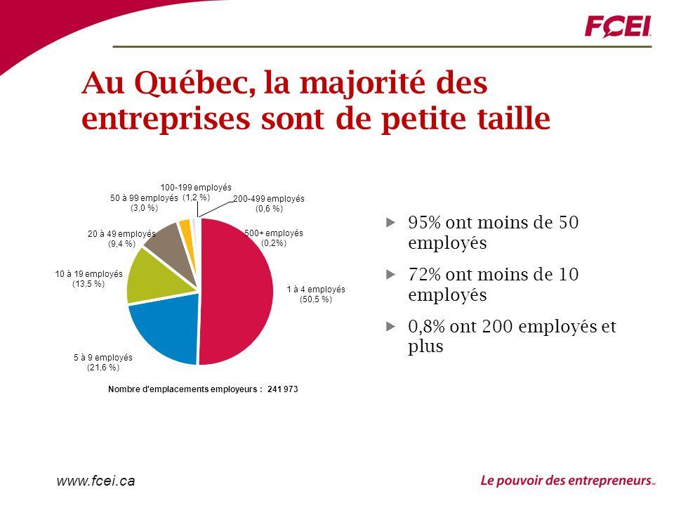www.fcei.ca Au Québec, la majorité des entreprises sont de petite taille 95% ont moins de 50 employés 72% ont moins de 10 employés 0,8% ont 200 employés et plus