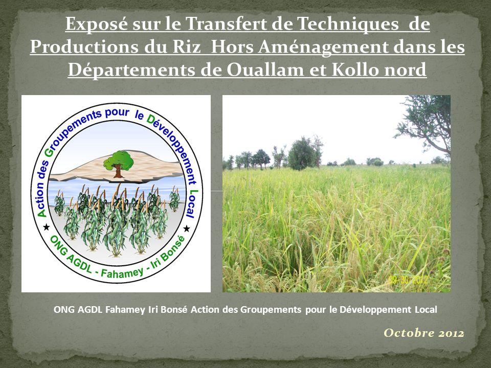 Exposé sur le Transfert de Techniques de Productions du Riz Hors Aménagement dans les Départements de Ouallam et Kollo nord Octobre 2012 ONG AGDL Faha
