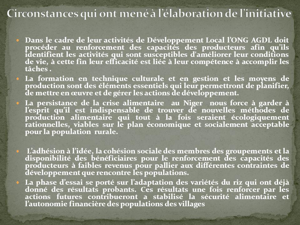 Dans le cadre de leur activités de Développement Local lONG AGDL doit procéder au renforcement des capacités des producteurs afin quils identifient le