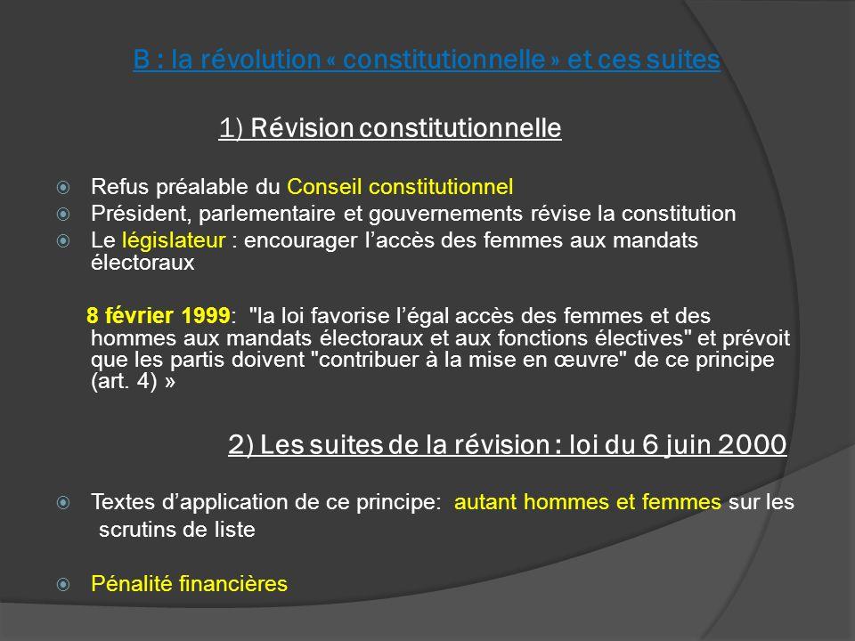 II : la parité aujourdhui A : Un enjeu sociétal : Limportance du mode de scrutin 1) Parité et scrutin proportionnel Parité sur les listes : Municipales > 3500 hab.