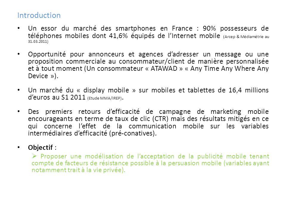 Introduction Un essor du marché des smartphones en France : 90% possesseurs de téléphones mobiles dont 41,6% équipés de lInternet mobile (Arcep & Médi