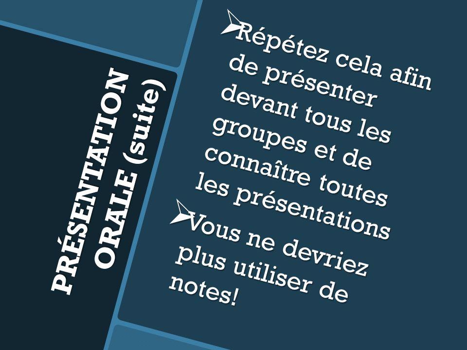 PRÉSENTATION ORALE (suite) Répétez cela afin de présenter devant tous les groupes et de connaître toutes les présentations Répétez cela afin de présen