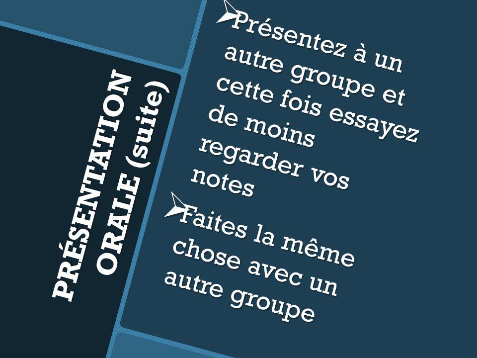 PRÉSENTATION ORALE (suite) Répétez cela afin de présenter devant tous les groupes et de connaître toutes les présentations Répétez cela afin de présenter devant tous les groupes et de connaître toutes les présentations Vous ne devriez plus utiliser de notes.