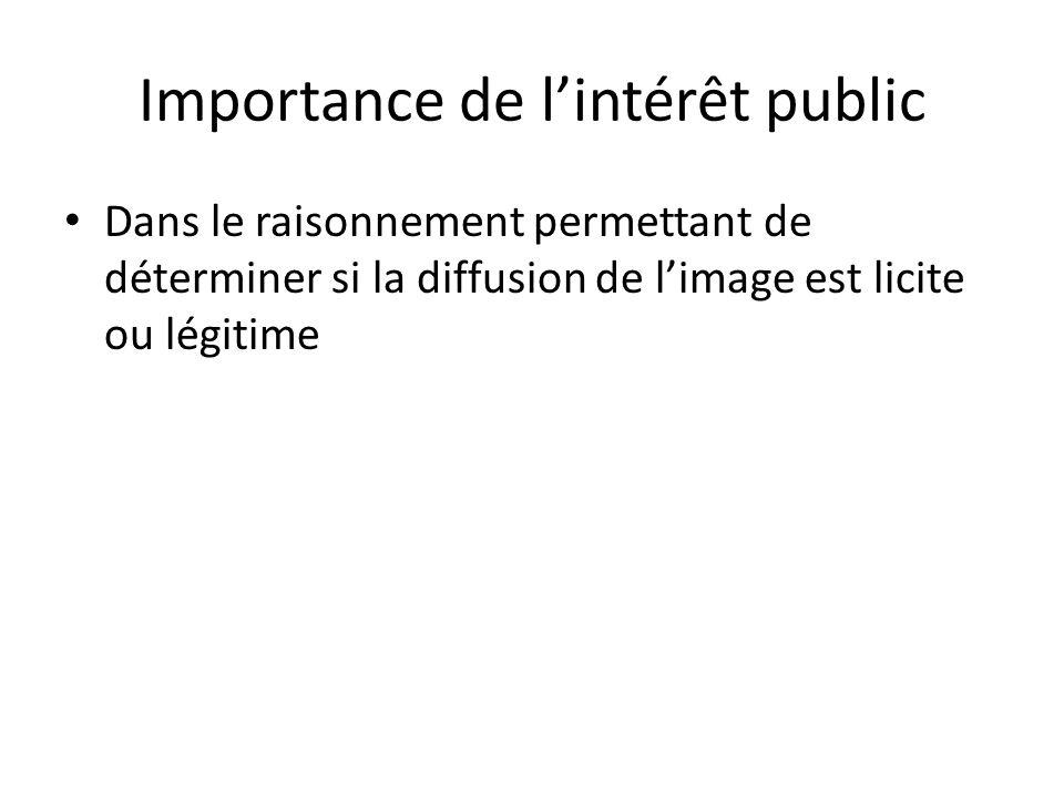 Importance de lintérêt public Dans le raisonnement permettant de déterminer si la diffusion de limage est licite ou légitime