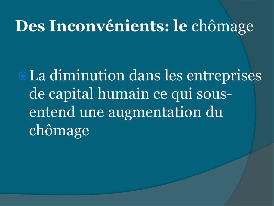 Des Inconvénients: le chômage La diminution dans les entreprises de capital humain ce qui sous- entend une augmentation du chômage