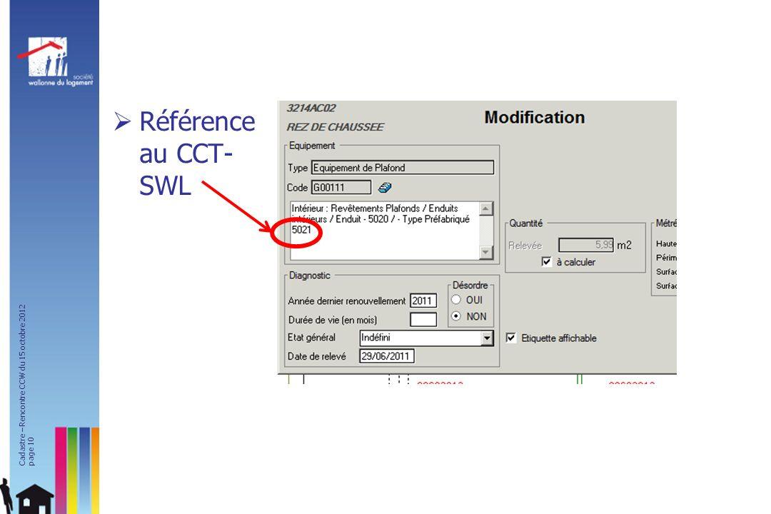 Référence au CCT- SWL Cadastre – Rencontre CCW du 15 octobre 2012 page 10