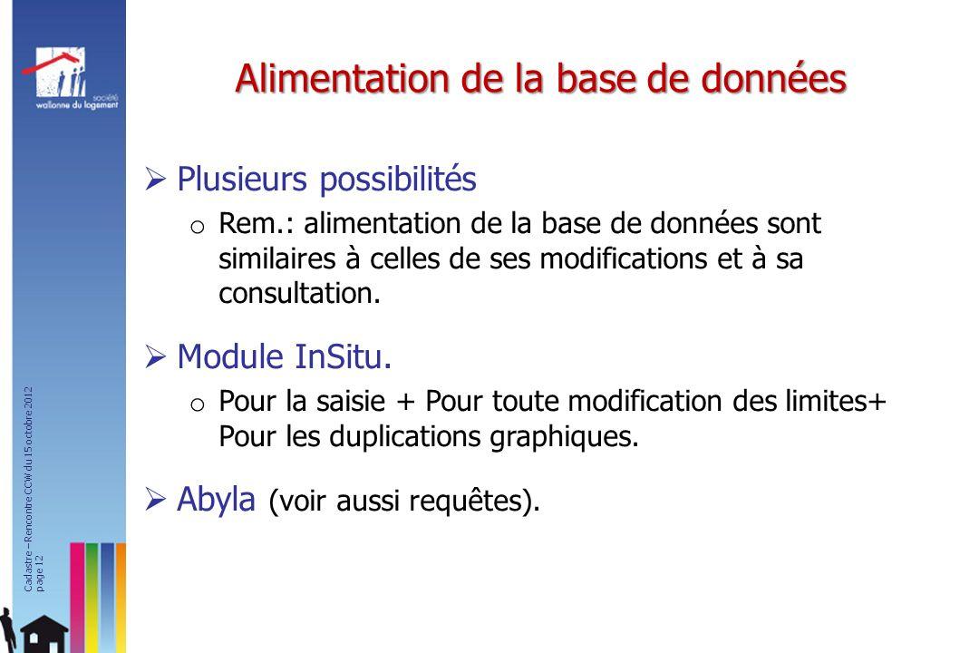 Plusieurs possibilités o Rem.: alimentation de la base de données sont similaires à celles de ses modifications et à sa consultation. Module InSitu. o