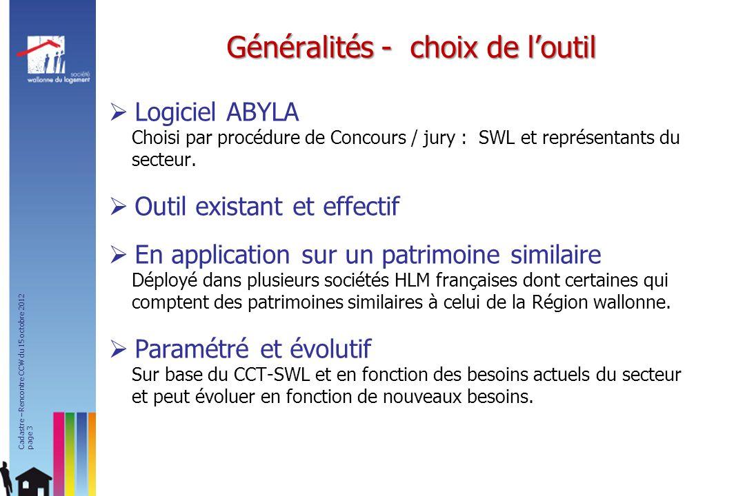 Logiciel ABYLA Choisi par procédure de Concours / jury : SWL et représentants du secteur. Outil existant et effectif En application sur un patrimoine