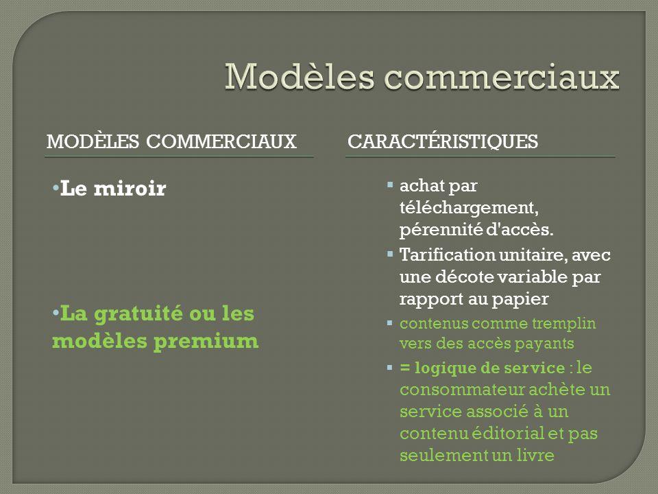 MODÈLES COMMERCIAUXCARACTÉRISTIQUES Le miroir La gratuité ou les modèles premium achat par téléchargement, pérennité d accès.