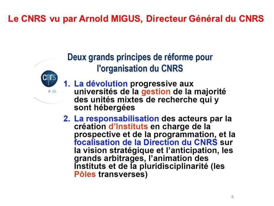 Le CNRS vu par Arnold MIGUS, Directeur Général du CNRS