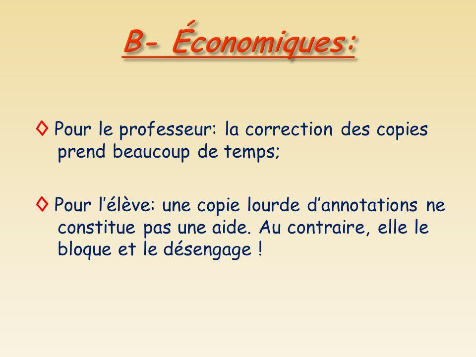 Pour le professeur: la correction des copies prend beaucoup de temps; Pour lélève: une copie lourde dannotations ne constitue pas une aide. Au contrai