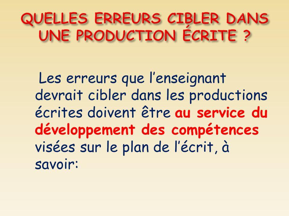 Les erreurs que lenseignant devrait cibler dans les productions écrites doivent être au service du développement des compétences visées sur le plan de