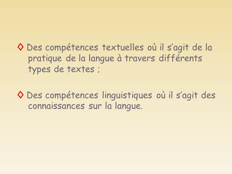 Des compétences textuelles où il sagit de la pratique de la langue à travers différents types de textes ; Des compétences linguistiques où il sagit de