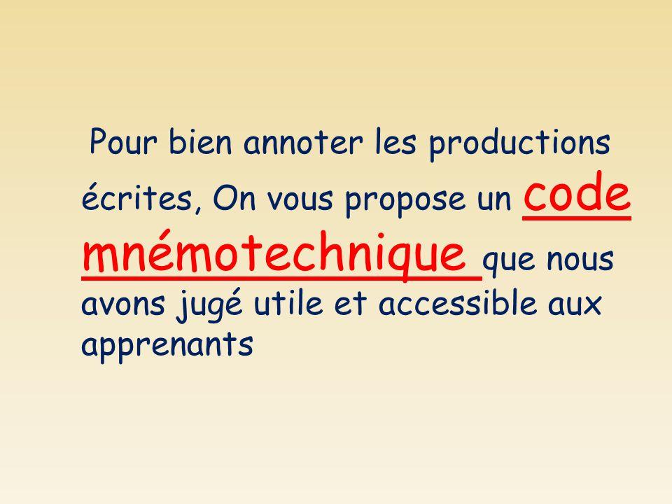 Pour bien annoter les productions écrites, On vous propose un code mnémotechnique que nous avons jugé utile et accessible aux apprenants