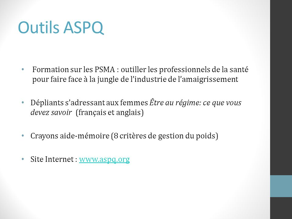 Outils ASPQ Formation sur les PSMA : outiller les professionnels de la santé pour faire face à la jungle de lindustrie de lamaigrissement Dépliants sa