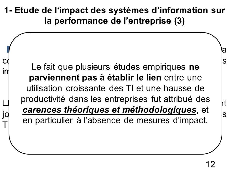 1- Etude de limpact des systèmes dinformation sur la performance de lentreprise (3) 12 La généralisation des résultats empiriques a constitué un autre