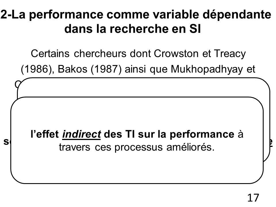 2-La performance comme variable dépendante dans la recherche en SI 17 Certains chercheurs dont Crowston et Treacy (1986), Bakos (1987) ainsi que Mukho