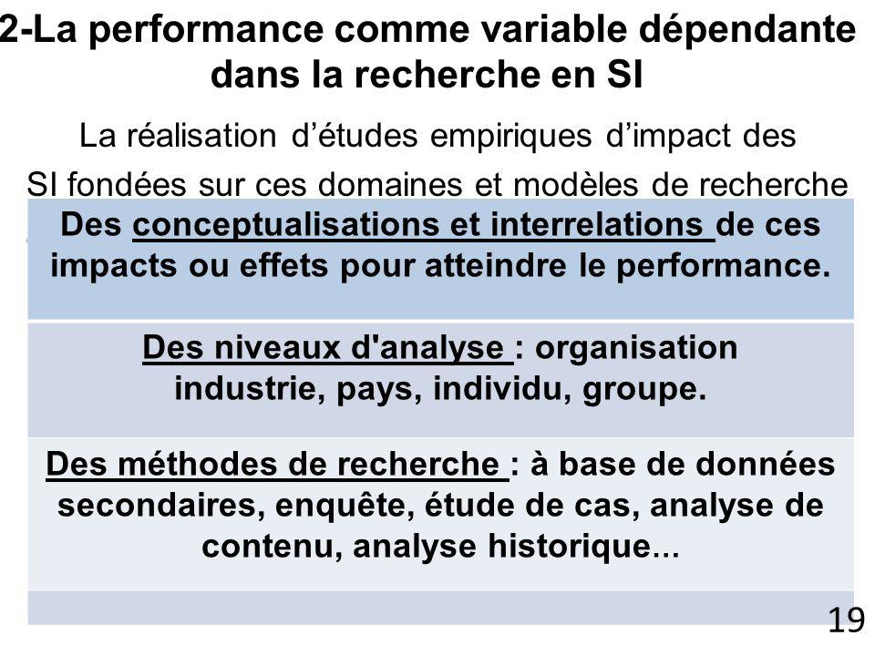 La réalisation détudes empiriques dimpact des SI fondées sur ces domaines et modèles de recherche a posée des questions dordre méthodologique, reliées